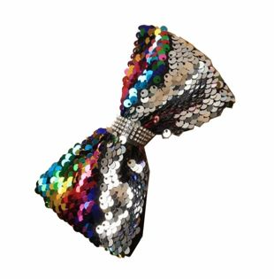 Black Ribbon Wrapped Aliceband with Reversible Sequin Rainbow Bow