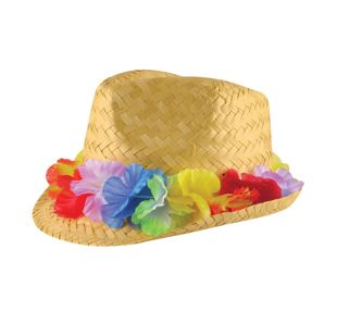 Adult Gangster Straw  Hat W/flower Band