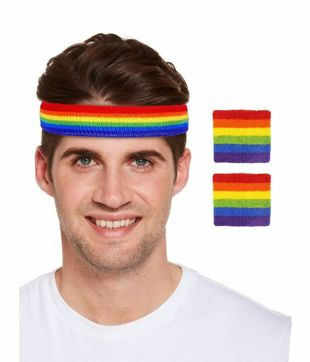 Rainbow Headband with wristbands Set