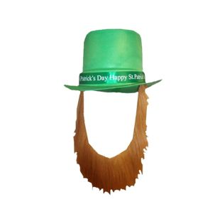 Happy St Patricks Day Topper Hat With Brown Beard