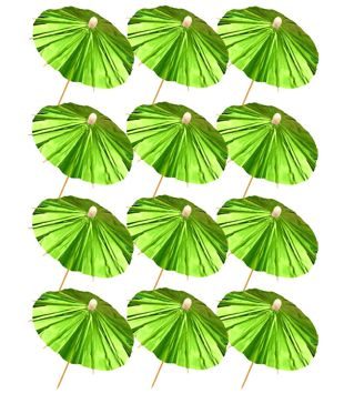 Green Foil Parasol Picks (Pack of 12)