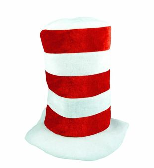 Childrens Red And White Tall Striped Hat