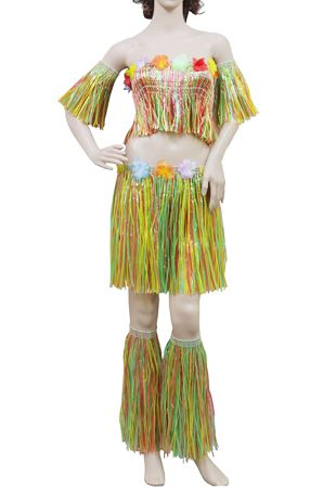 Multi Coloured Hula With Flowers 5 Pcs Set