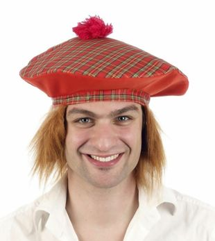 Tartan Scottish Hat With Hair