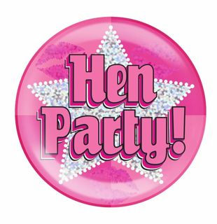 Jumbo Badge Hen Party Holographic Dot