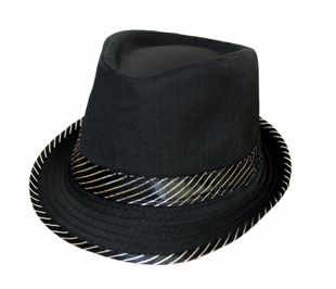 Black Trilby Hat With Silver Stripe