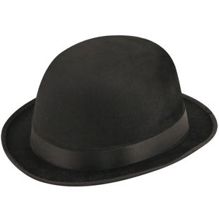 Black Velour Bowler Hat