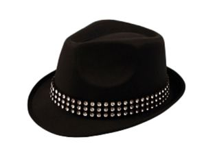 Black Trilby Hat With Gem Stones