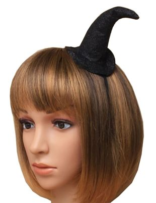 Black Aliceband Glitter Witches Hat