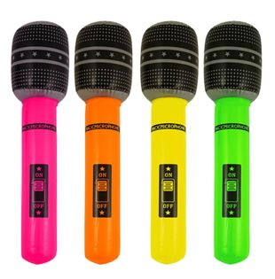 Inflatable Microphone 40cm Assorted Colours