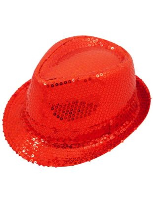 Red Sequin Gangster Hat